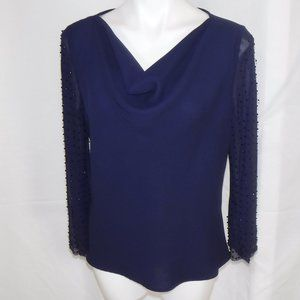 Dressy Navy Blouse with beaded sleeves